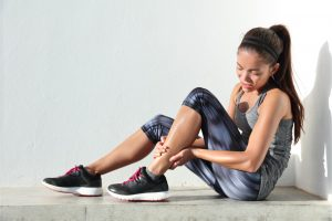 woman with muscle strain