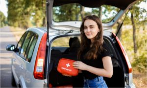 At home and in your car, keep a first aid kit with you.
